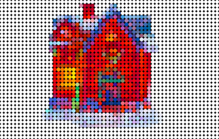 Abstract house composed of colored circle