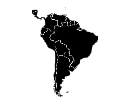An outlined map of South America in black and white tone. All isolated on white background