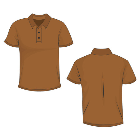 Ilustración de Front and back view of brown polo (t-shirt). Isolated on white background. Template and mockup of polo for print. Vector illustration, EPS10. - Imagen libre de derechos