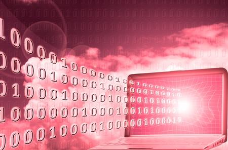 Digital world: binary code flowing from laptop