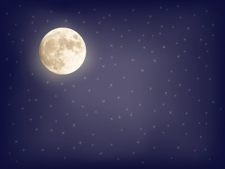 abstract starry background with full moon vector illustration