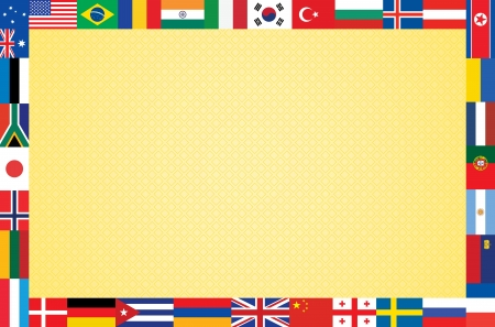 orange background with frame made of flags vector illustration