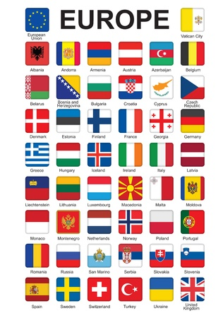 set of push buttons with flags of Europe  illustration