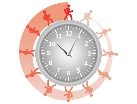man running around the clock  illustration