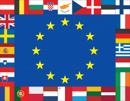 European Union flags icons frame