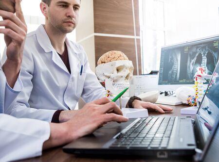 Photo pour Two doctors having medical council in hospital. - image libre de droit