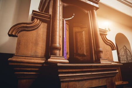 Photo for Wooden window of confessional box at church - Royalty Free Image