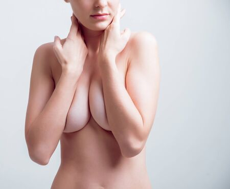 Photo for Beautiful nude girl in the studio. Light background - Royalty Free Image