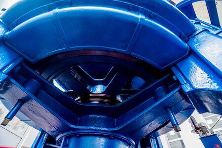 Foto de Turbine generators. Hydroelectric power plant. Interior backgorund - Imagen libre de derechos