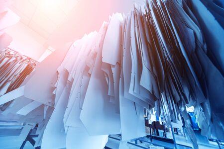 Photo pour Clothing pattern. Fabric industry production line. Textile factory. - image libre de droit