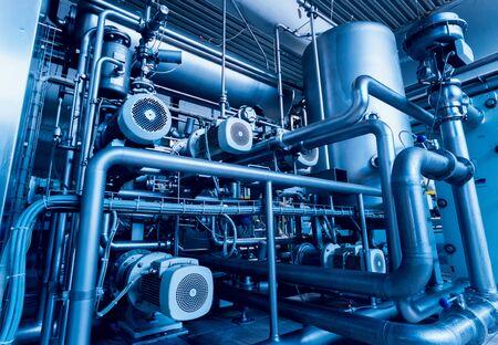 Foto für Modern interior of a brewery. Barrels and pipes. Factory interior. Industry background - Lizenzfreies Bild