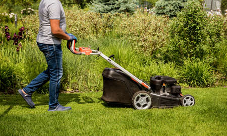 Photo pour Gardener mowing the lawn. Landscape design. Green background - image libre de droit