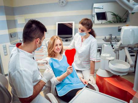 Photo pour Young woman at the dental office. Medical equipment. - image libre de droit