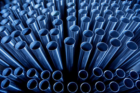 Photo for Abstract background of steel pipes stacked on a pallet - Royalty Free Image