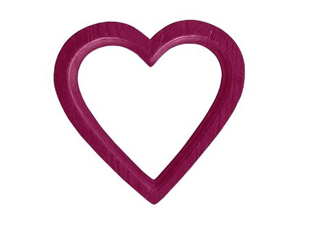 Magenta wooden heart-shaped frame for photo or artwork. White background.