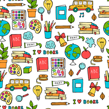 Illustration pour Seamless colored back to school pattern with supplies stationary and creative elements. Colorful fun cute vector line background - image libre de droit