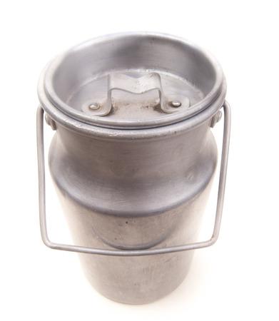 vintage aluminium drum for milk isolated on white