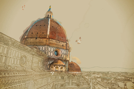 Travel background in vector format. Modern stylish painting with watercolor and pencil. The Basilica di Santa Maria del Fiore (Basilica of Saint Mary of the Flower) in Florence, Italy