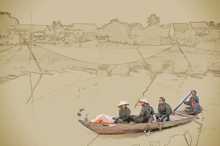 Travel background in vector format. Modern stylish painting with watercolor and pencil. A group of tourists in a traditional vietnamese boat pass by a fishing net in Hoi An, Vietnam.