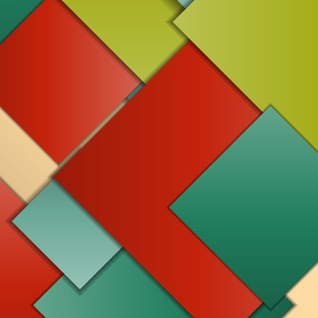 Stack of random rectangles hovering in space on a flat surface. Abstract background in the paradigm of material design. Perfect background texture with multiple colors and 3d effects.