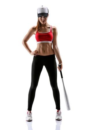 Baseball girl training  photo set of sporty muscular female brunette girl wearing sports clothes over white background