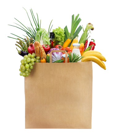 Best Foods For Women studio photography of brown grocery bag with fruits, vegetables, bread, bottled beverages - isolated over white background