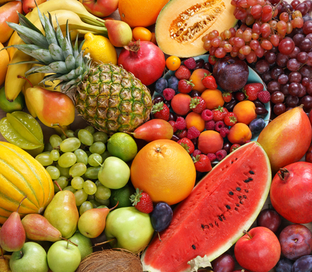 Superfood background. Only Fruit, food photography of ripe fruits at the market
