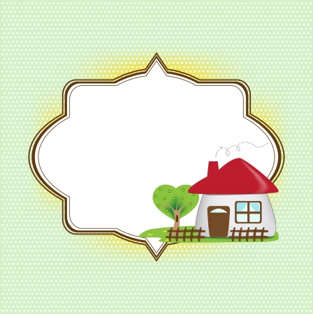 Frame for text with cute house
