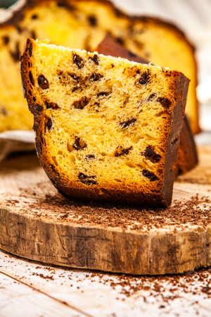 Photo for Panettone is an Italian type of sweet bread. Freshly baked sweet braided bread. Eastern European freshly baked dessert - Royalty Free Image