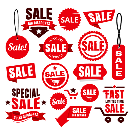 Illustration pour Red big discount badges, ribbons, tags and icons for sale promotions. - image libre de droit
