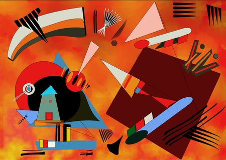 Foto de Olorful red background inspired by the painter kandinsky - Imagen libre de derechos