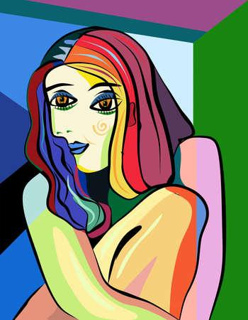 Illustration pour Colorful abstract background, cubism art style, woman portrait on green - image libre de droit