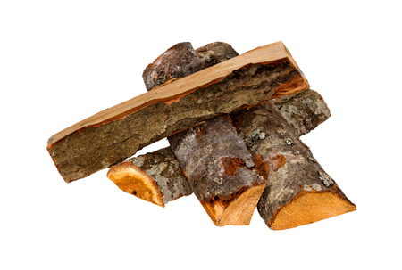 Foto de Firewood isolated on a white background. Logs of fire wood- Clipping Path. - Imagen libre de derechos