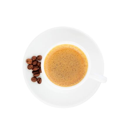 Photo pour Coffee with coffee beans. Cup of coffee top view with coffee beans isolated on a white background. - image libre de droit