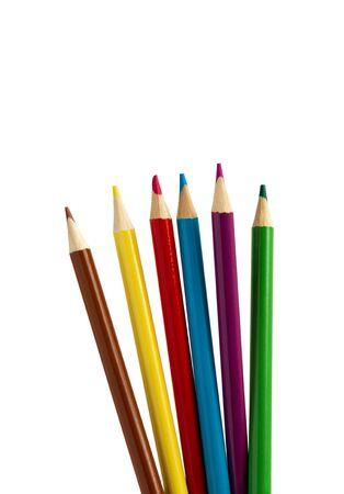 Foto de Pencil color isolated on white background. Colorful, colored pencil. Close up of vibrant pencil color tips. - Imagen libre de derechos