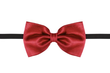 Photo pour Red bow tie close up isolated on white background - image libre de droit