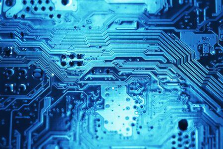 Photo pour Blue electronic mother board circuit close up macro background. - image libre de droit