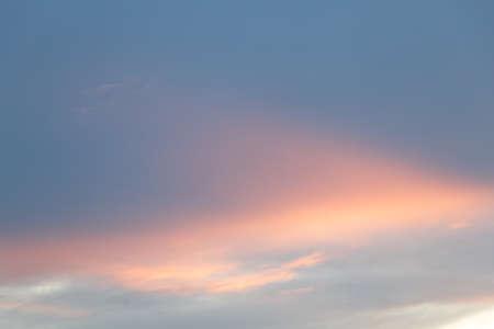 Foto de sky and cloud in blue and orange gradient colors. Colorful smooth sky in dusk - Imagen libre de derechos