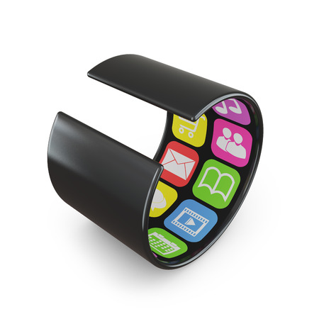 modern flexible touchscreen smartphone which strongly twisted