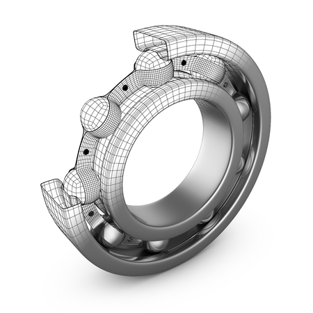 Photo pour View of ball bearing structures in a cut. 3D render. - image libre de droit