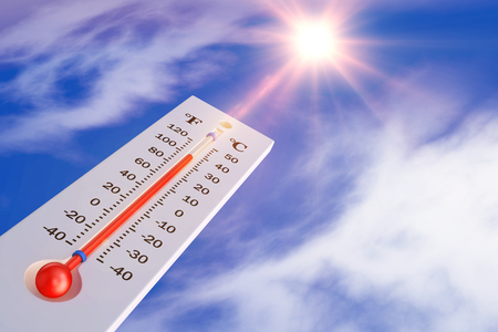Photo for The thermometer on the background of the sun. 3d rendering. - Royalty Free Image