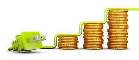 Photo pour Green American standard plug and stacks of coins. 3d render - image libre de droit