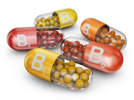 Photo pour Close up capsules filled with B vitamins. 3D render. - image libre de droit