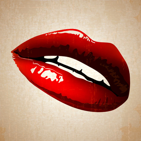 lips art vintage woman red