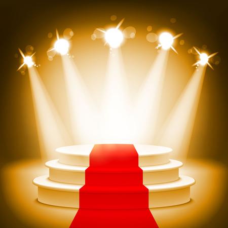 Illustration pour Illuminated stage podium for award ceremony vector illustration art - image libre de droit