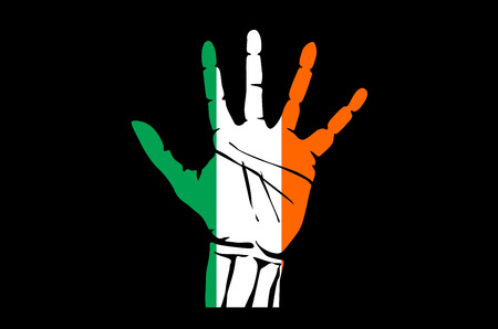 Hand with five fingers stretched upward, colors of the Irish flag art