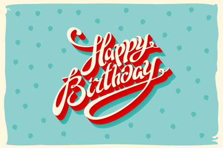 Ilustración de Vintage retro happy birthday card, with fonts, grunge frame and chevrons seamless background. art vector - Imagen libre de derechos