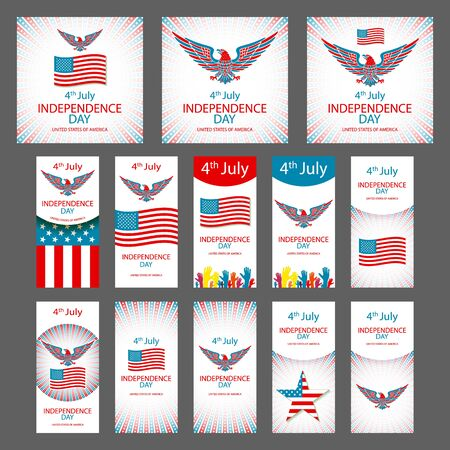Happy USA Independence Day - Fourth of July - July 4th Vector Set art