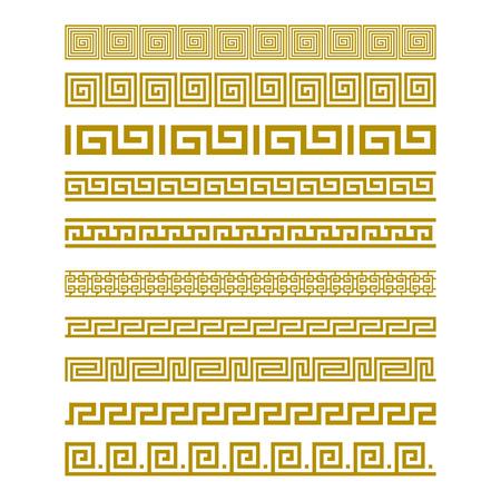 Ilustración de Seamless Gold Meander Patterns vector art - Imagen libre de derechos