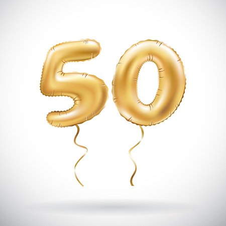 Ilustración de vector Golden number 50 fifty metallic balloon. Party decoration golden balloons. Anniversary sign for happy holiday, celebration, birthday, carnival, new year. art - Imagen libre de derechos